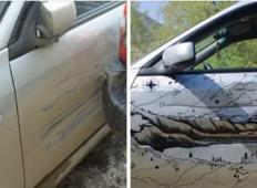 Ko je kamion udaril v njegov avto, se je odločil, da ga bo popravil na drugačen način!