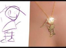 Zlatarna naredi obeske za verižice, iz otroških risbic